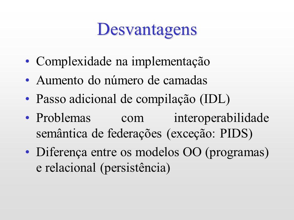 Desvantagens Complexidade na implementação