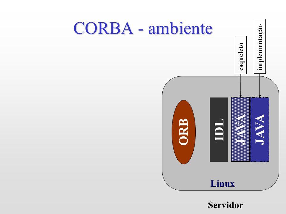 CORBA - ambiente JAVA JAVA ORB IDL Linux Servidor implementação
