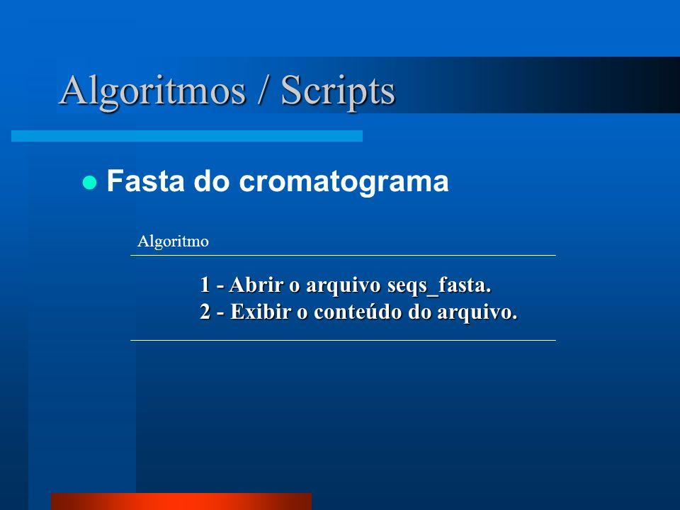 Algoritmos / Scripts Fasta do cromatograma
