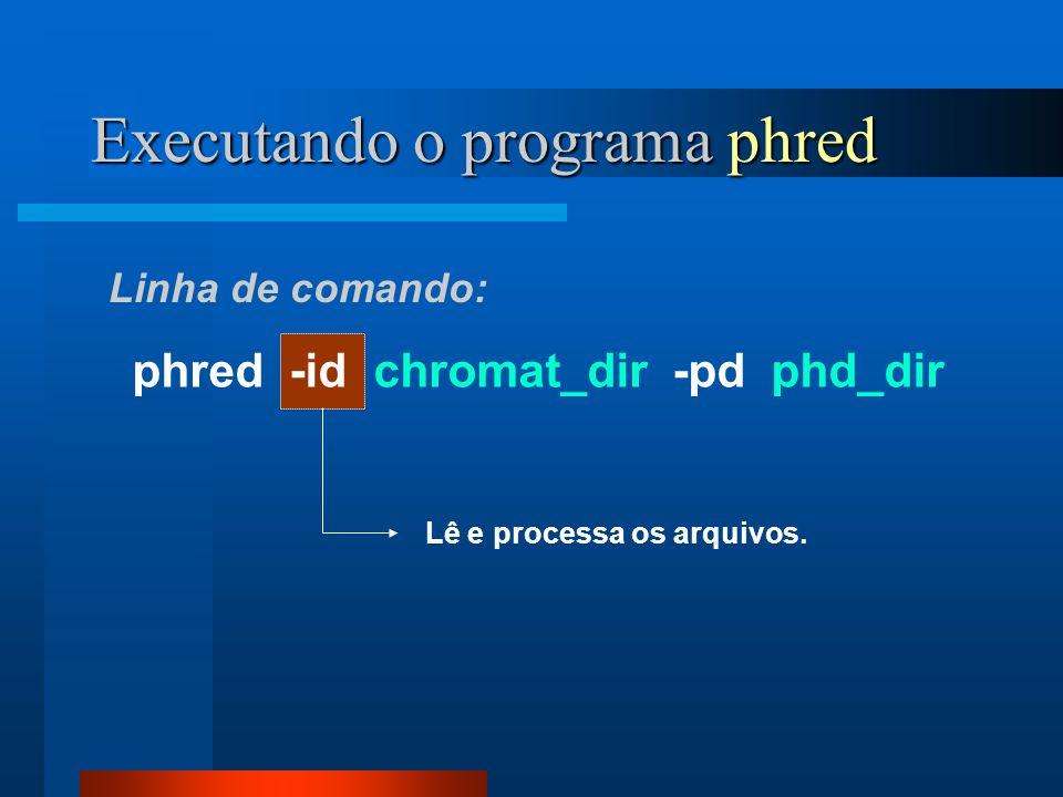 Executando o programa phred