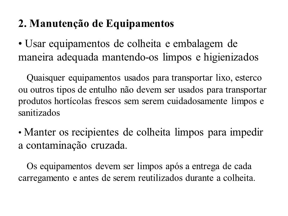2. Manutenção de Equipamentos