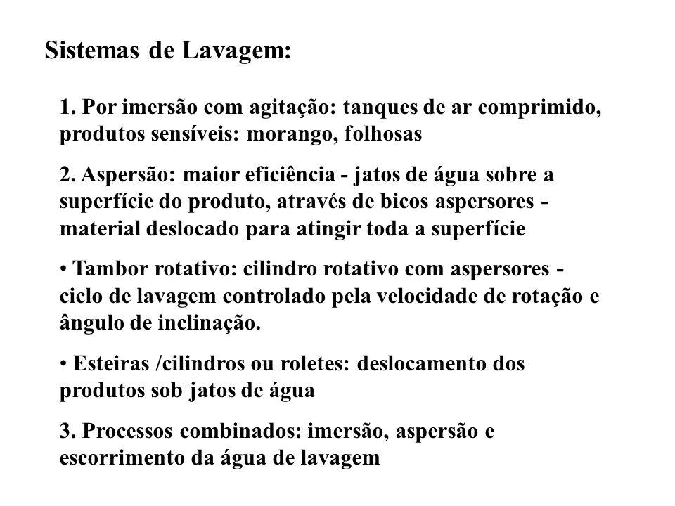 Sistemas de Lavagem: 1. Por imersão com agitação: tanques de ar comprimido, produtos sensíveis: morango, folhosas.