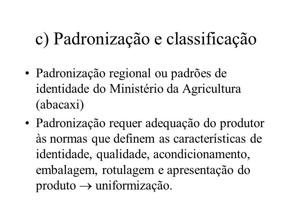 c) Padronização e classificação