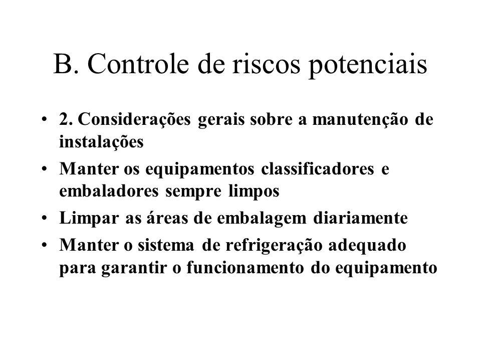 B. Controle de riscos potenciais