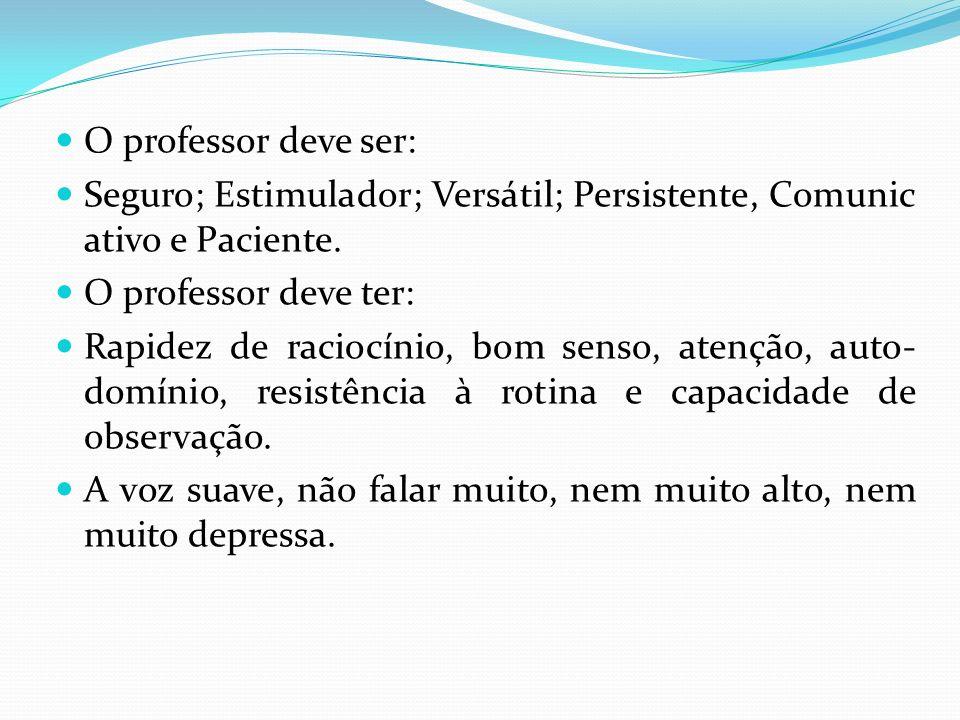 O professor deve ser:Seguro; Estimulador; Versátil; Persistente, Comunicativo e Paciente. O professor deve ter: