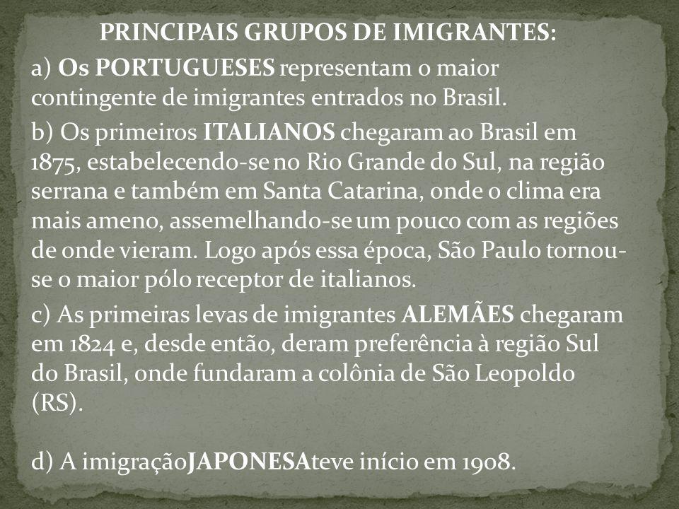 PRINCIPAIS GRUPOS DE IMIGRANTES: a) Os PORTUGUESES representam o maior contingente de imigrantes entrados no Brasil.