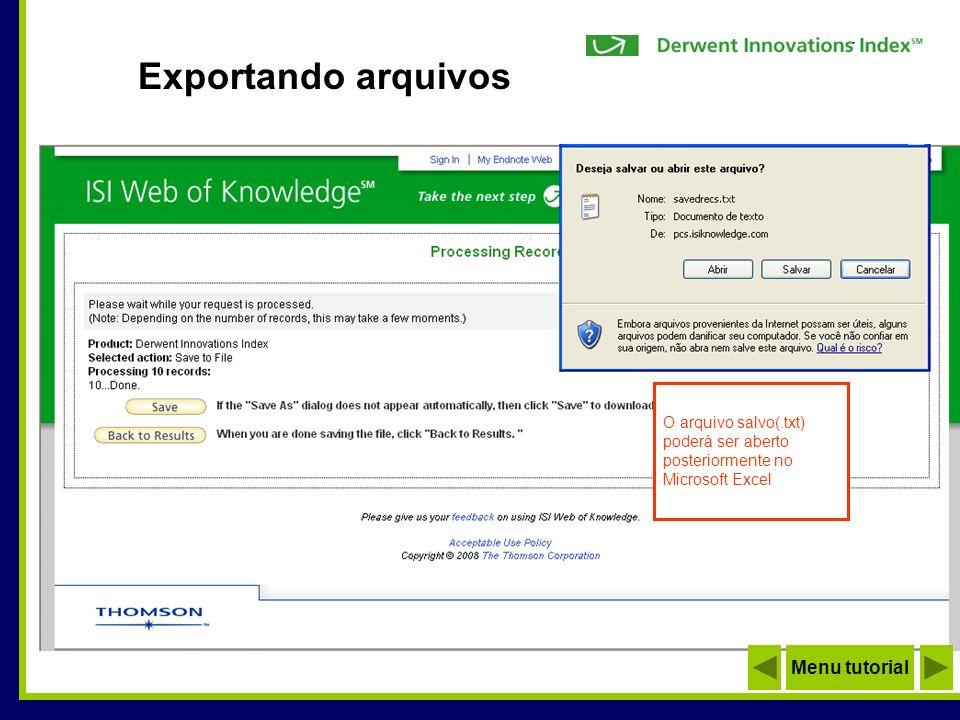 Exportando arquivos Menu tutorial O arquivo salvo(.txt)
