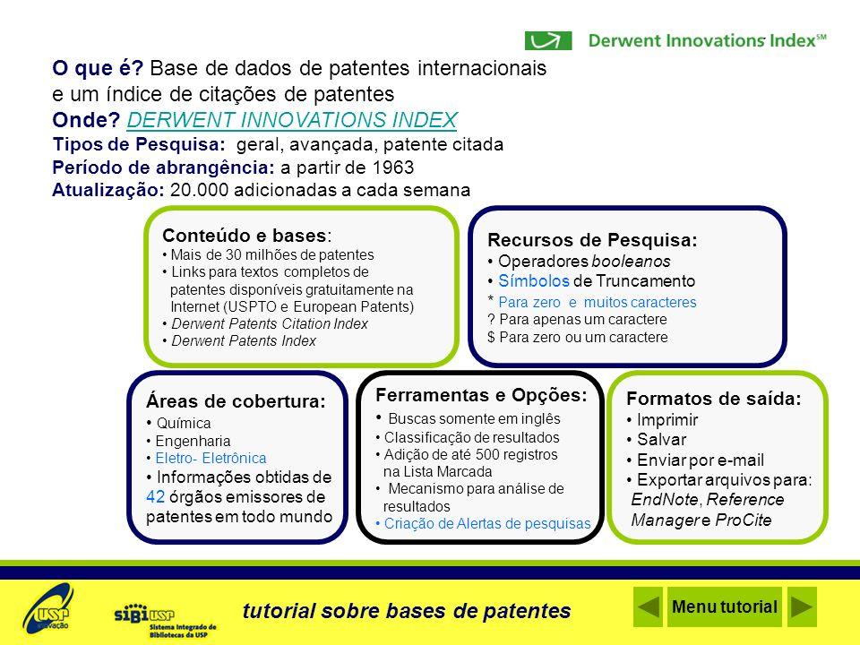 O que é Base de dados de patentes internacionais