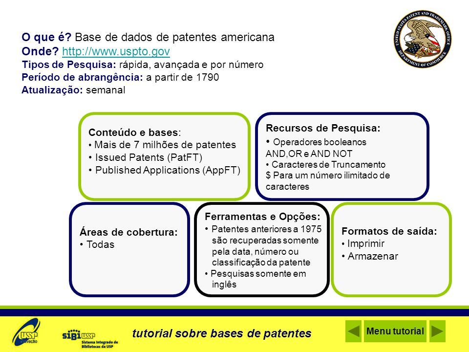 O que é Base de dados de patentes americana