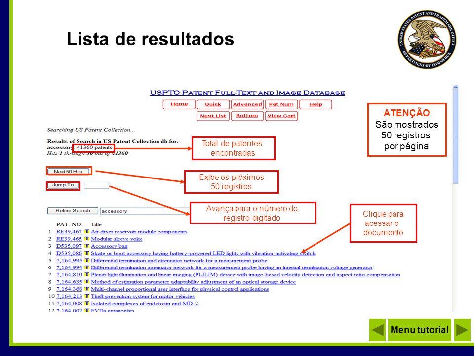 Lista de resultados ATENÇÃO São mostrados 50 registros por página