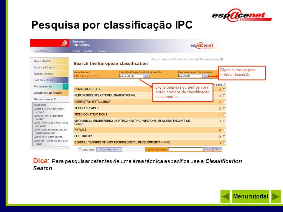 Pesquisa por classificação IPC