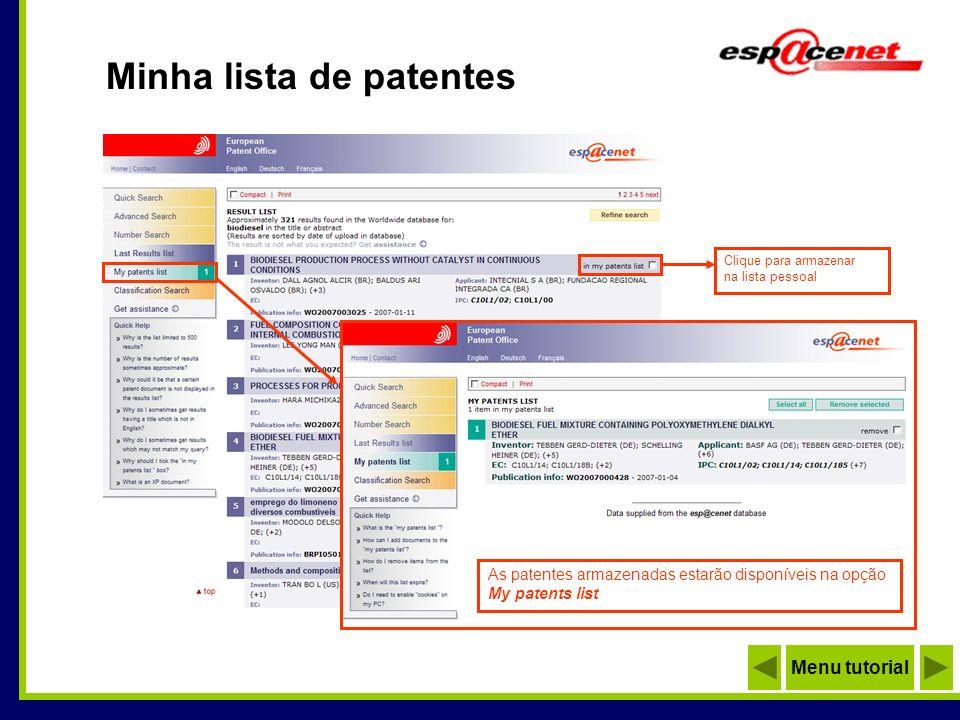 Minha lista de patentes