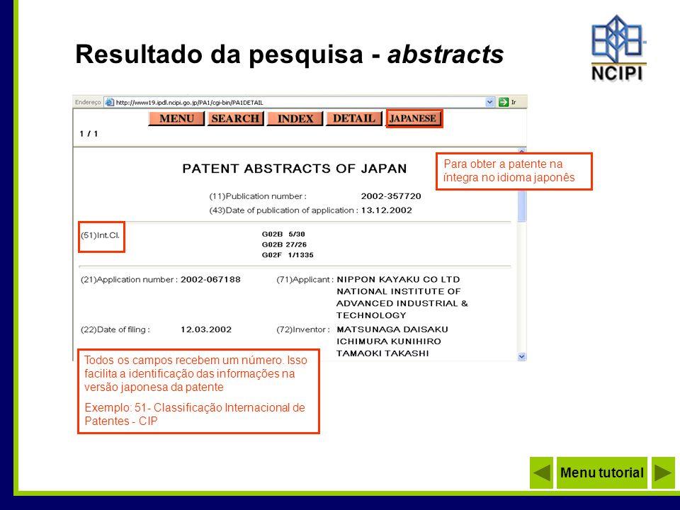 Resultado da pesquisa - abstracts