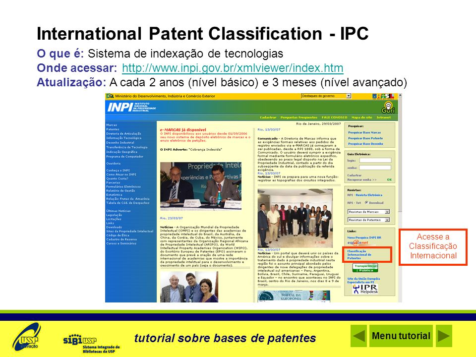 Acesse a Classificação Internacional