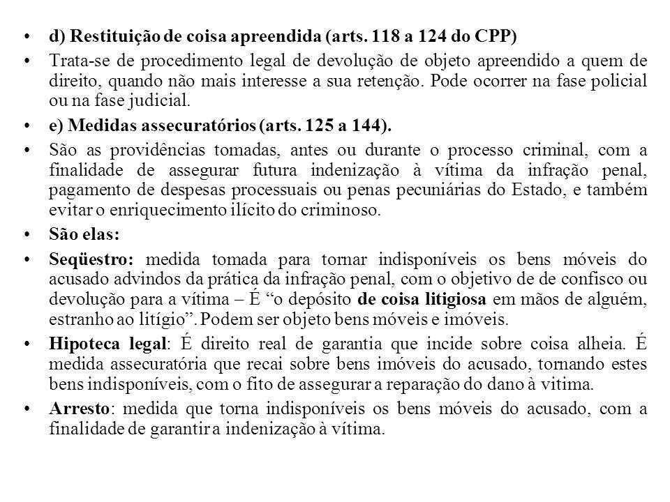 d) Restituição de coisa apreendida (arts. 118 a 124 do CPP)