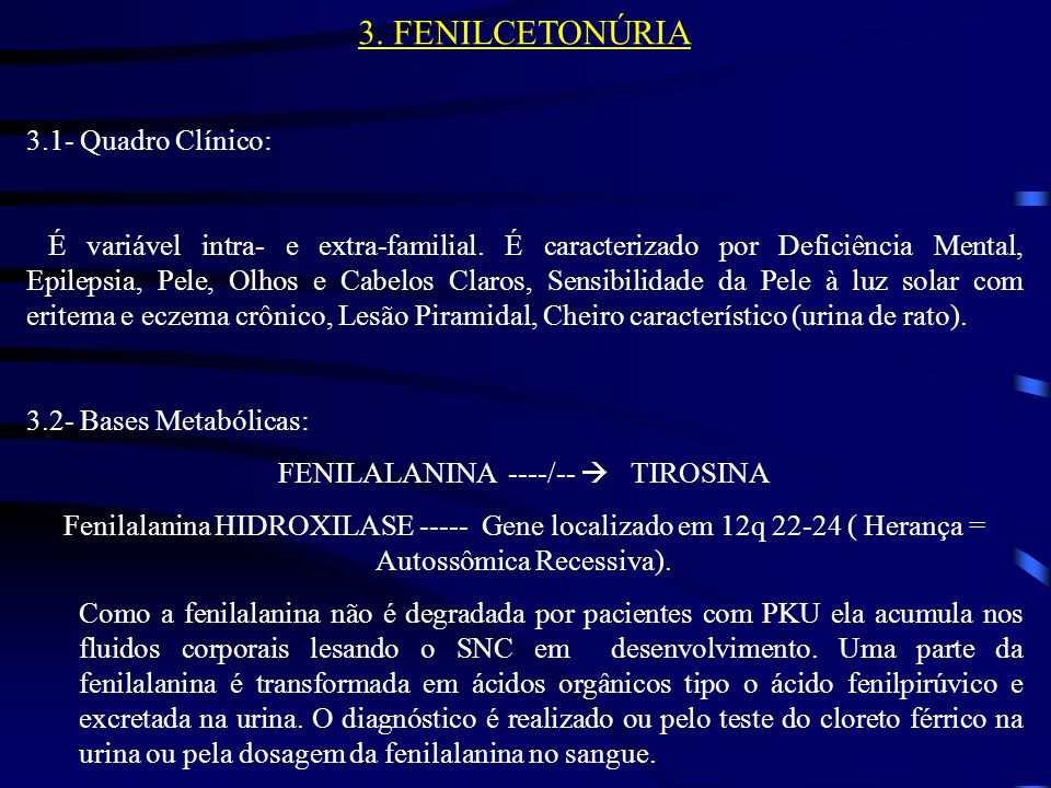FENILALANINA ----/--  TIROSINA