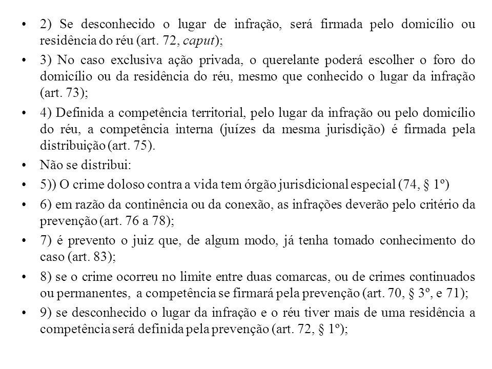 2) Se desconhecido o lugar de infração, será firmada pelo domicílio ou residência do réu (art. 72, caput);