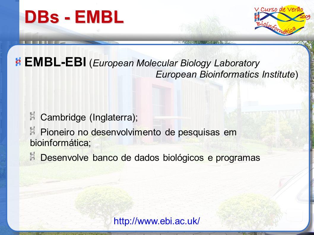 DBs - EMBL EMBL-EBI (European Molecular Biology Laboratory