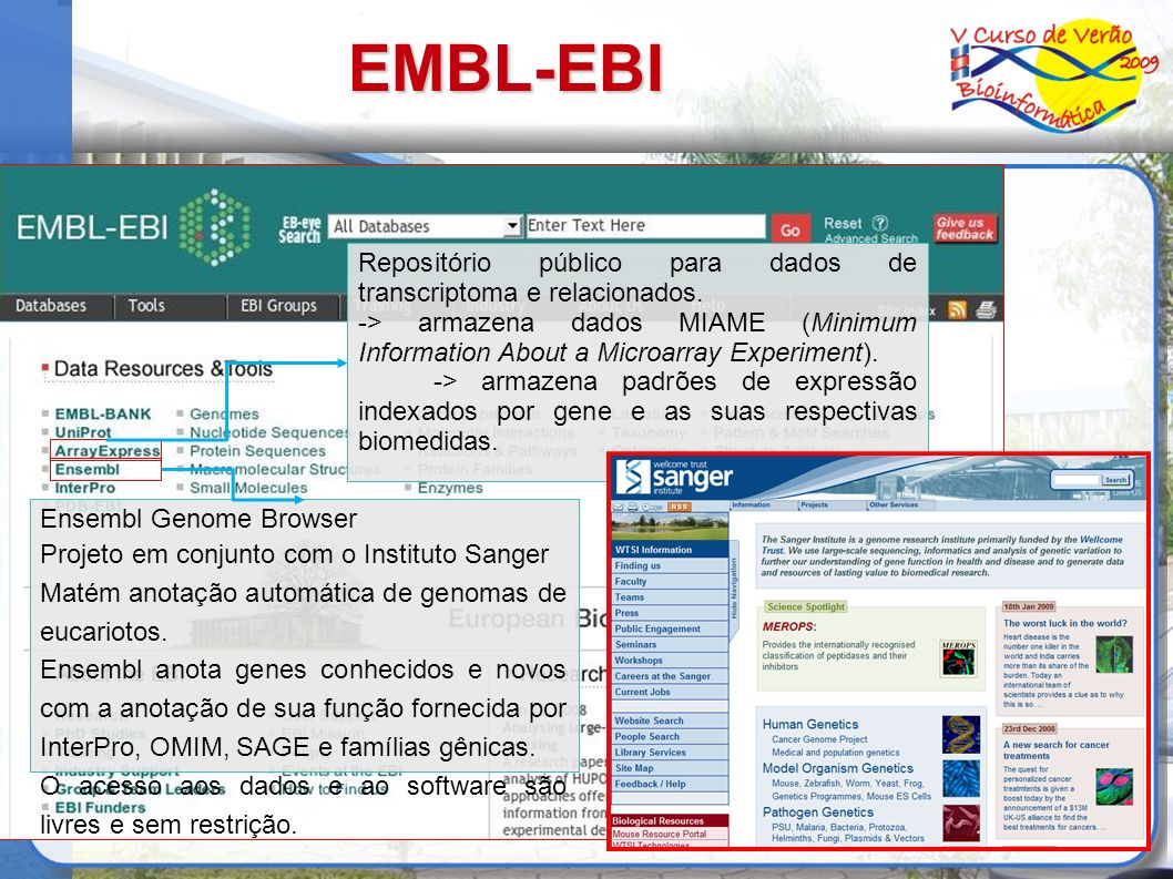 EMBL-EBIRepositório público para dados de transcriptoma e relacionados. -> armazena dados MIAME (Minimum Information About a Microarray Experiment).