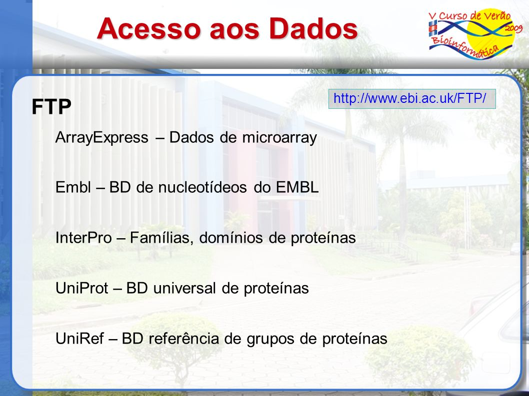 Acesso aos Dados FTP ArrayExpress – Dados de microarray