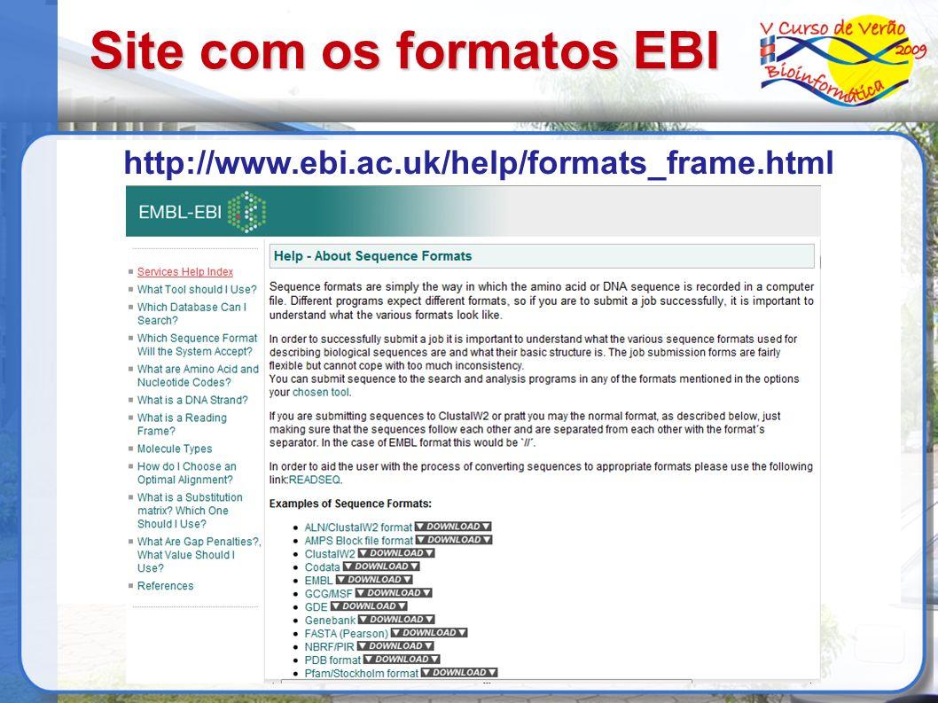 Site com os formatos EBI
