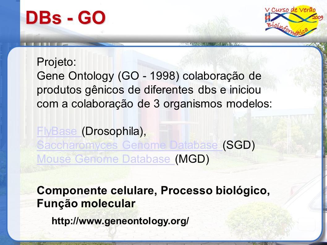 DBs - GO Projeto: Gene Ontology (GO - 1998) colaboração de produtos gênicos de diferentes dbs e iniciou com a colaboração de 3 organismos modelos:
