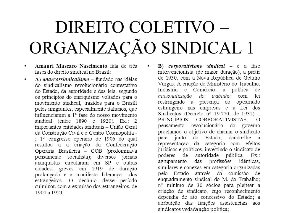 DIREITO COLETIVO – ORGANIZAÇÃO SINDICAL 1