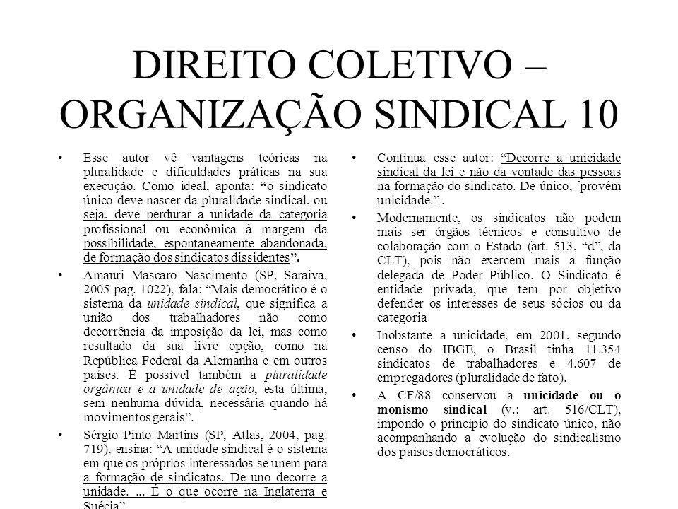 DIREITO COLETIVO – ORGANIZAÇÃO SINDICAL 10