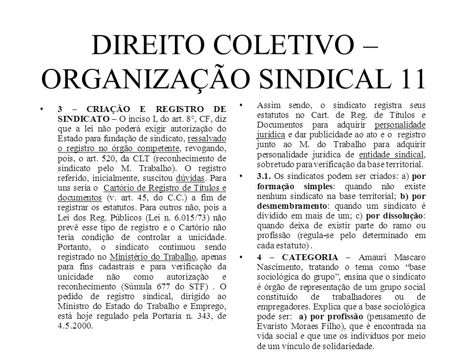 DIREITO COLETIVO – ORGANIZAÇÃO SINDICAL 11