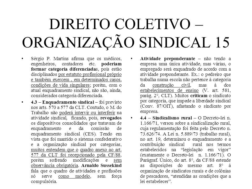 DIREITO COLETIVO – ORGANIZAÇÃO SINDICAL 15