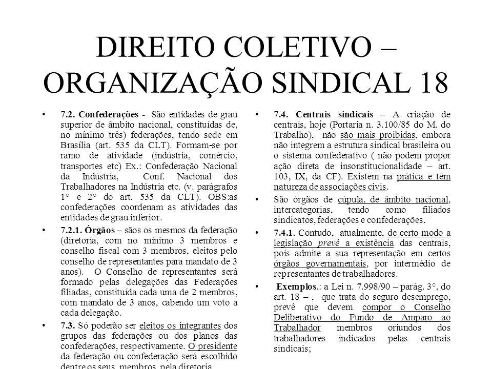 DIREITO COLETIVO – ORGANIZAÇÃO SINDICAL 18