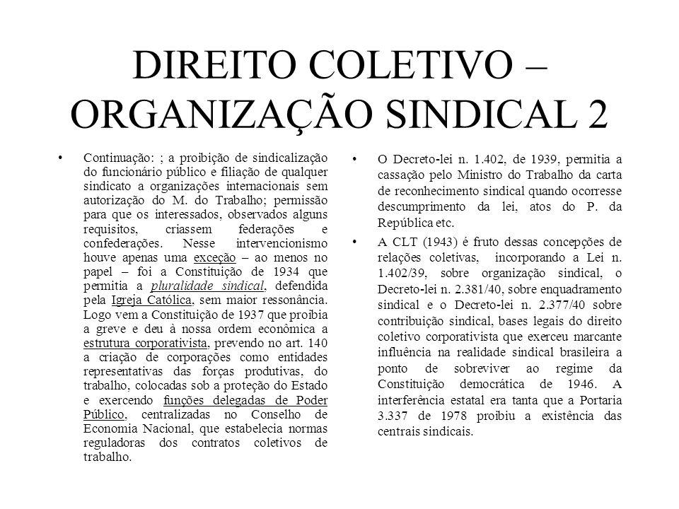 DIREITO COLETIVO – ORGANIZAÇÃO SINDICAL 2