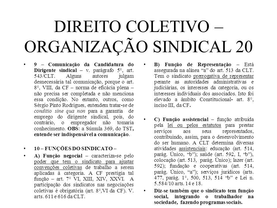 DIREITO COLETIVO – ORGANIZAÇÃO SINDICAL 20