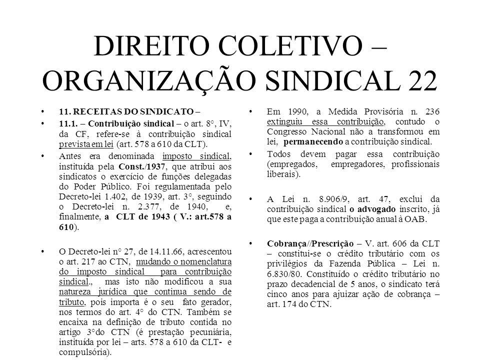 DIREITO COLETIVO – ORGANIZAÇÃO SINDICAL 22