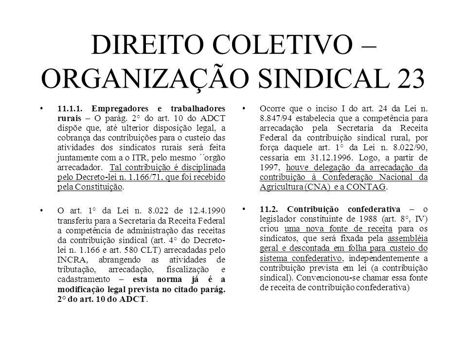 DIREITO COLETIVO – ORGANIZAÇÃO SINDICAL 23