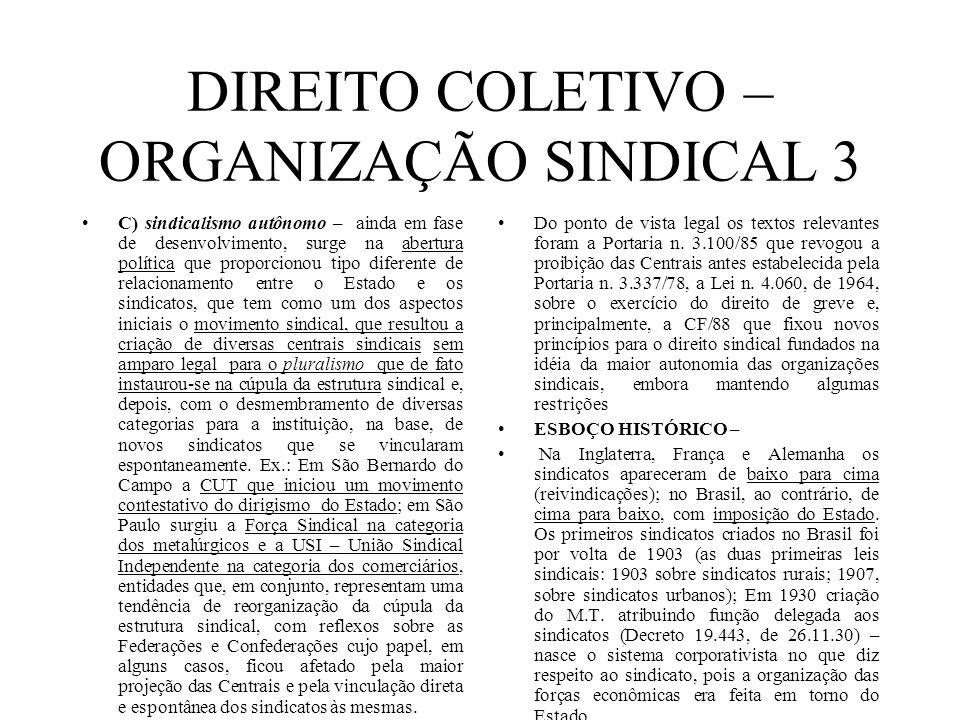 DIREITO COLETIVO – ORGANIZAÇÃO SINDICAL 3