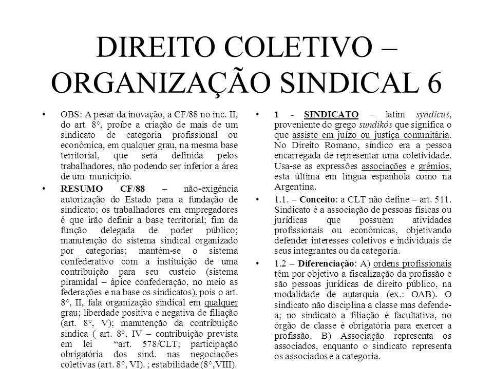 DIREITO COLETIVO – ORGANIZAÇÃO SINDICAL 6