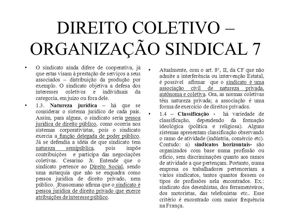 DIREITO COLETIVO – ORGANIZAÇÃO SINDICAL 7