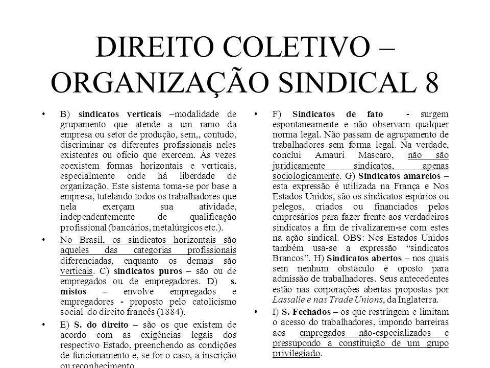 DIREITO COLETIVO – ORGANIZAÇÃO SINDICAL 8