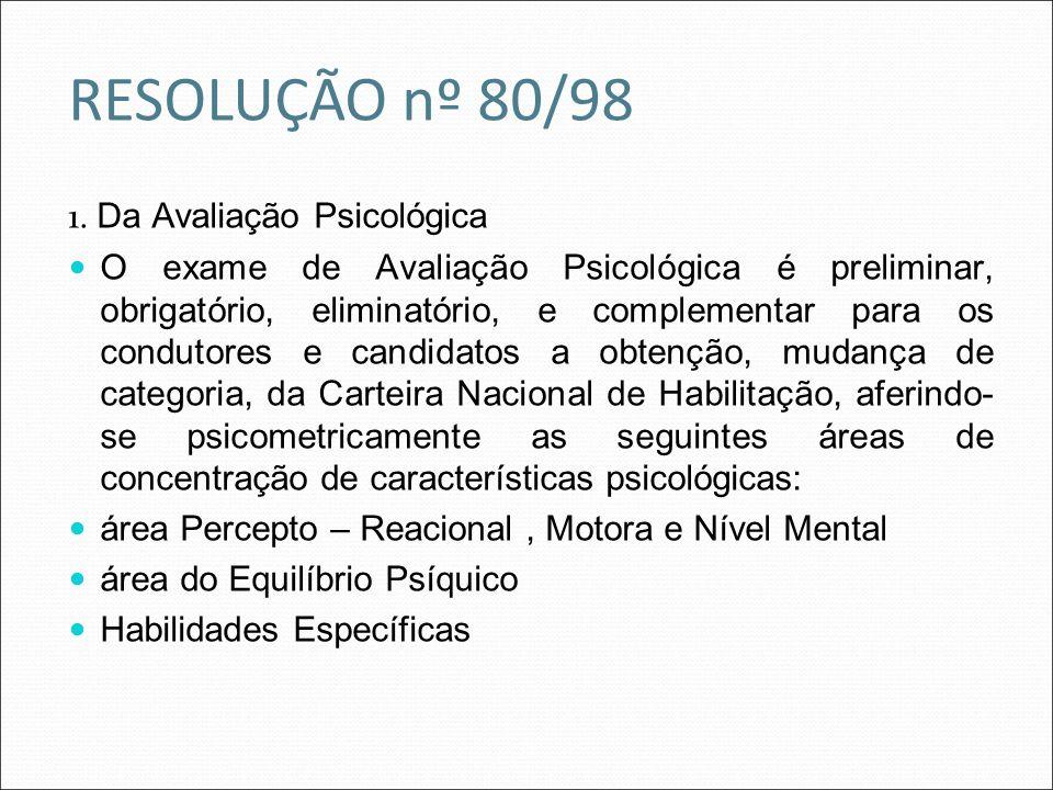 RESOLUÇÃO nº 80/98 1. Da Avaliação Psicológica