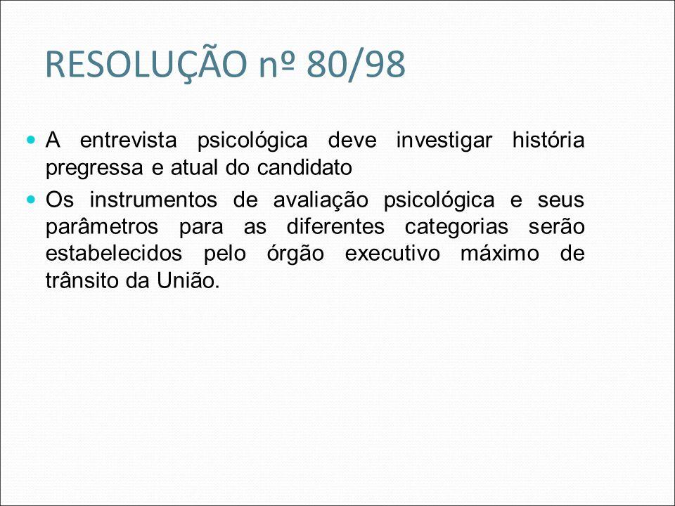 RESOLUÇÃO nº 80/98 A entrevista psicológica deve investigar história pregressa e atual do candidato.