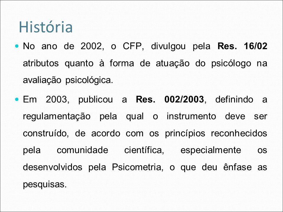 História No ano de 2002, o CFP, divulgou pela Res. 16/02 atributos quanto à forma de atuação do psicólogo na avaliação psicológica.