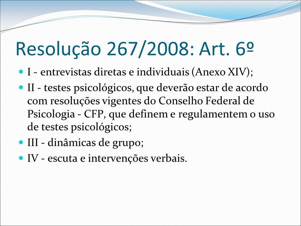 Resolução 267/2008: Art. 6º I - entrevistas diretas e individuais (Anexo XIV);