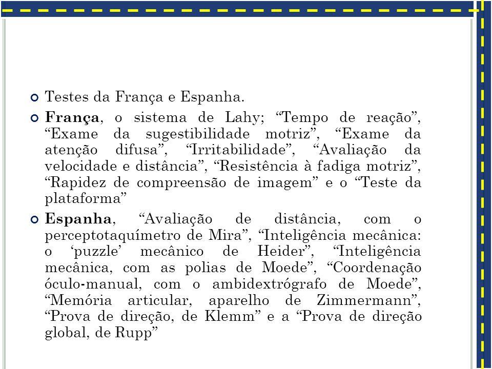 Testes da França e Espanha.