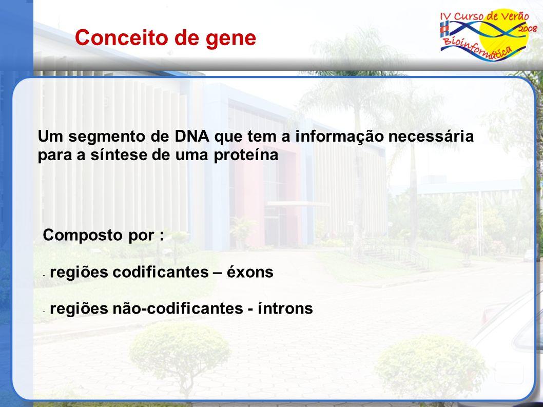 Conceito de gene Um segmento de DNA que tem a informação necessária