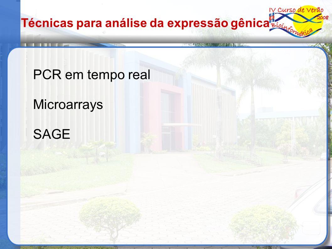 PCR em tempo real Microarrays SAGE