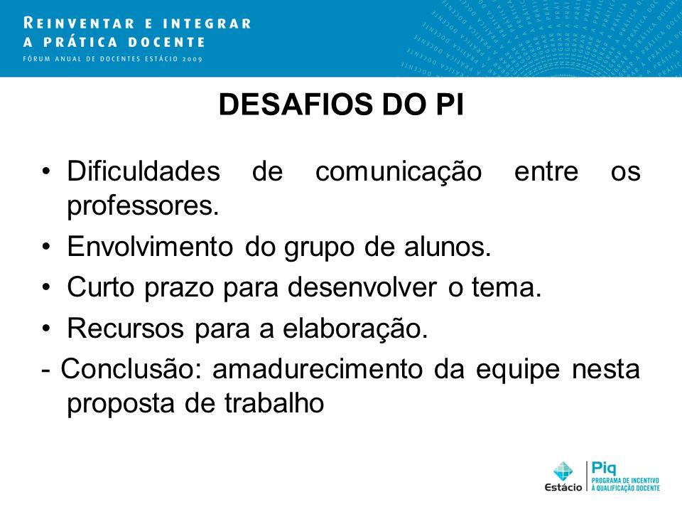 DESAFIOS DO PI Dificuldades de comunicação entre os professores.
