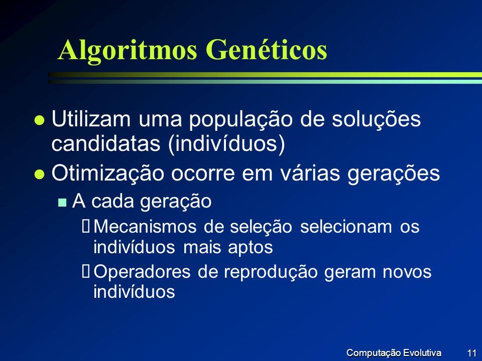 Algoritmos Genéticos Utilizam uma população de soluções candidatas (indivíduos) Otimização ocorre em várias gerações.