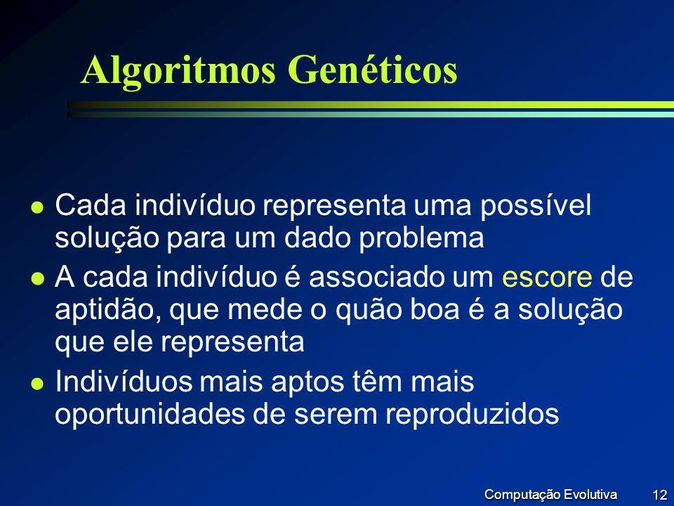 Algoritmos Genéticos Cada indivíduo representa uma possível solução para um dado problema.