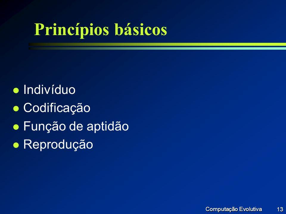 Princípios básicos Indivíduo Codificação Função de aptidão Reprodução